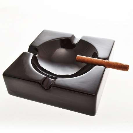 Cendrier noir 4 cigares porcelaine