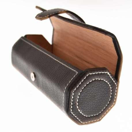 Etui / cave à cigare de transport en cuir noir avec supiqures