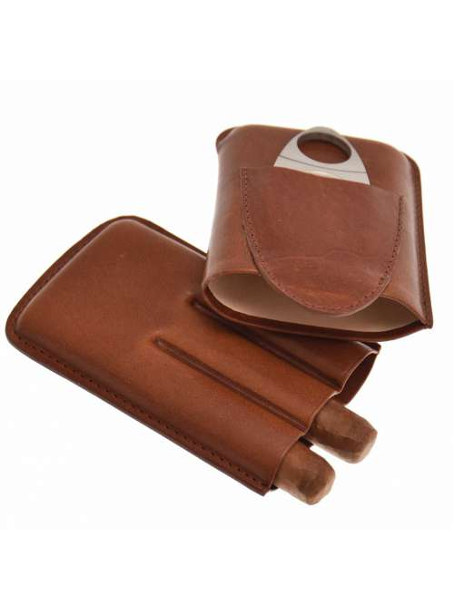 Etui 3 cigares cuir marron avec coupe cigare
