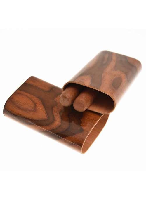 Etui 3 cigares bois finition cuir
