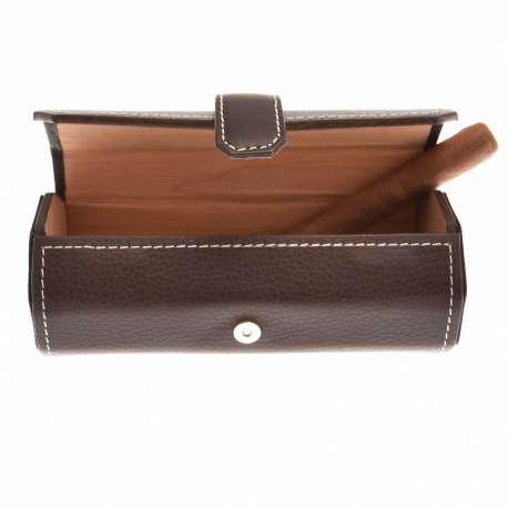 Etui / cave à cigare de transport en cuir marron avec supiqures