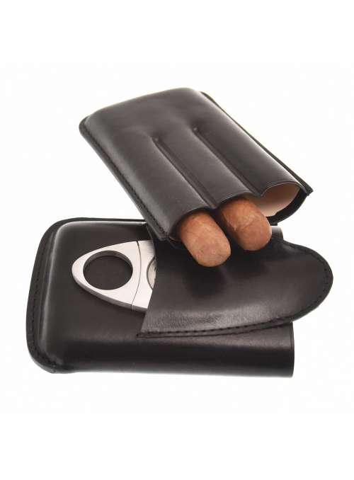 Etui 3 cigares cuir noir avec coupe cigare