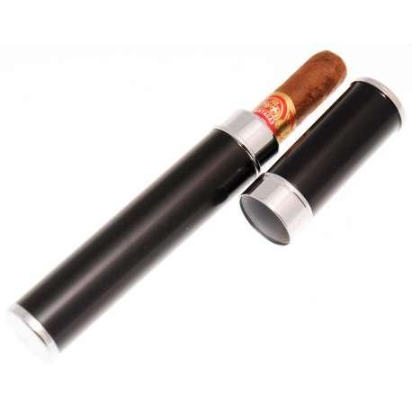 Etui 1 cigare en acier noir et chrome