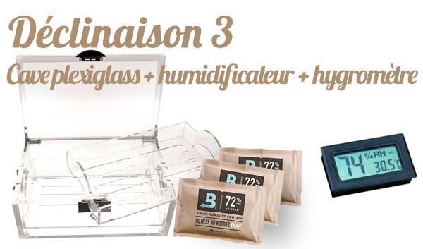 cave à cigares plexiglass + boveda + hygromètre